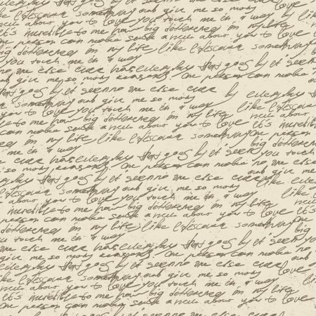 Abstract handwriting on old vintage paper. Seamless pattern