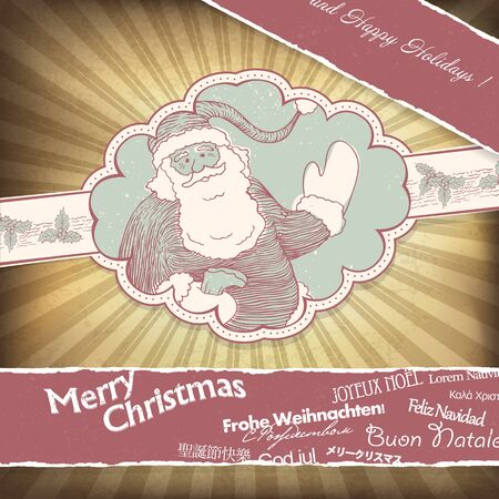 Retro Santa Claus greetings in different languages. Christmas background, vector, EPS10 photo