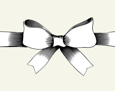 black bow: Bow with ribbon. Illustration