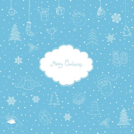 Merry Christmas Cute Background. Vector