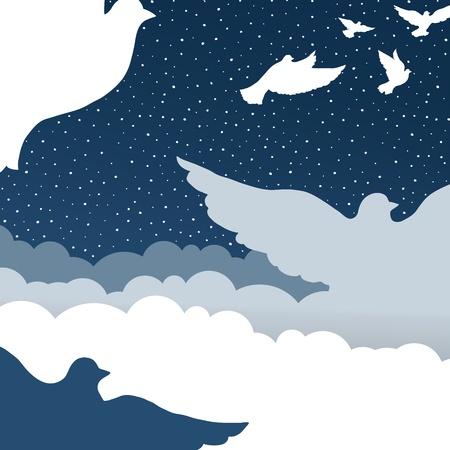 pigeons flying: Palomas en el cielo de nubes