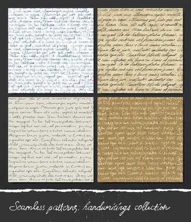 Naadloos patroon: handschriften collectie. Abstract onleesbare tekst (Lorem Ipsum). Vector Illustratie