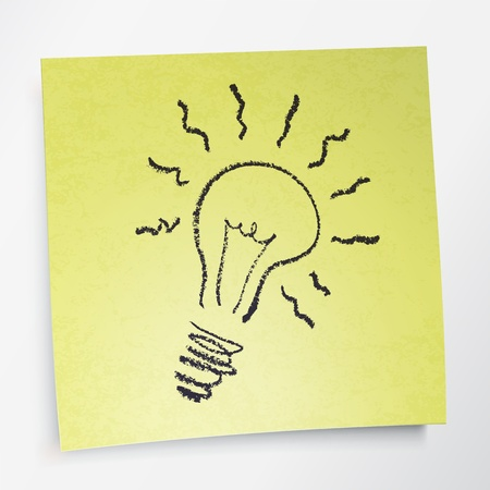 Idea symbol on sticky yellow paper. Vector