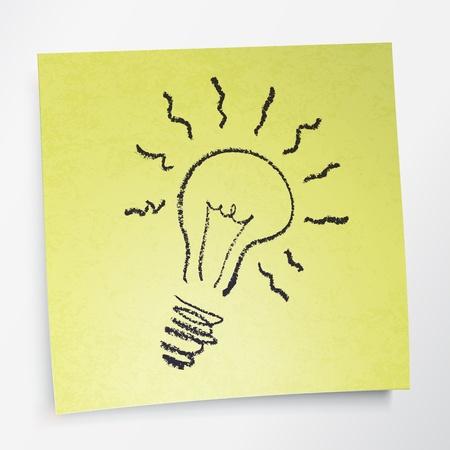 brainwash: Idea symbol on sticky yellow paper. Illustration