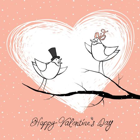 Two lovers birds. Valentines Day celebration background.  Vector