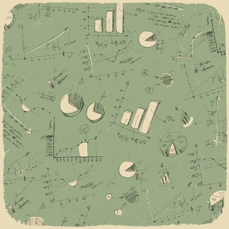 Business charts. Retro styled background. Vector