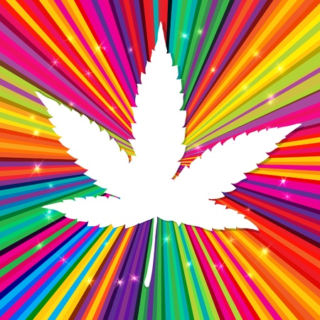 ganja: Cannabis leaf on abstract psychedelic background. Illustration