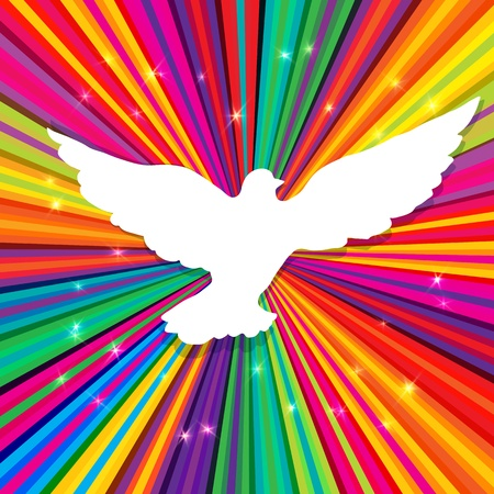 60s hippie: Dove silhouette on psychedelic colored abstract background. Illustration