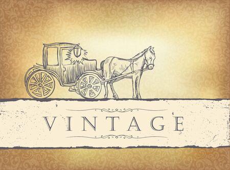 old horse: Golden vintage wedding invitation.
