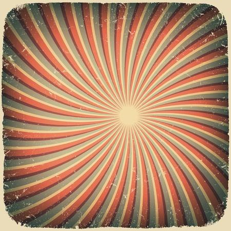 Grunge swirl rays retro background. Vector