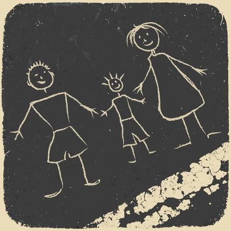 幸せな家族の落書き。アスファルトの上の画像します。  イラスト・ベクター素材