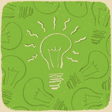 brainwash: Retro conceptual background with idea symbol (lightbulb onoff).