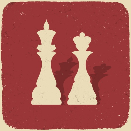 art piece: King and queen. Retro chess background. Illustration