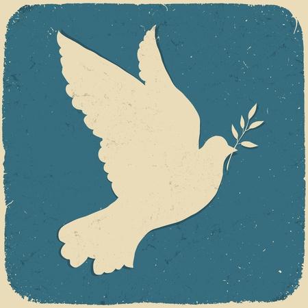 paloma: Paloma de la Paz. Ilustraci�n de estilo retro.