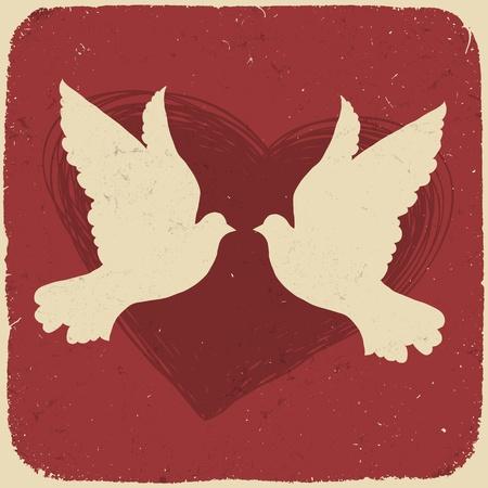 paloma blanca: Dos amantes de las palomas. Ilustraci�n de estilo retro.