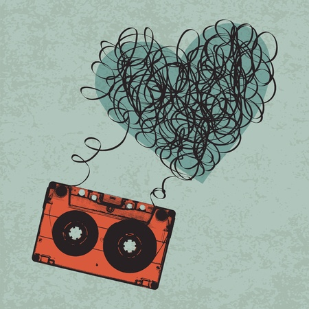 Vintage audiocassette illustration with heart shaped messy tape.