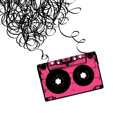 Audiocassette tape with tangled. Vector