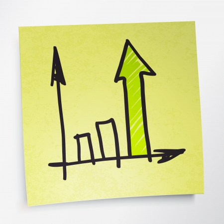 advance: Successful business graph on yellow sticky paper.