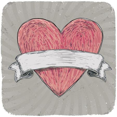 tatouage art: R�tro style de tatouage de coeur avec ruban pour votre texte. Pos�.