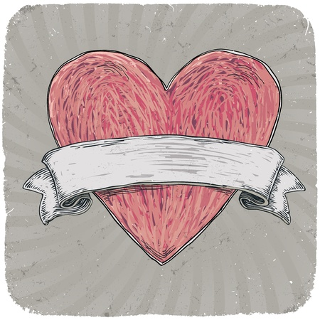 retro styled: Retro styled tattoo heart with ribbon for your text. Layered.  Illustration