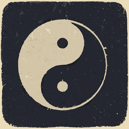 Grunge yin yang symbol background.  Vector