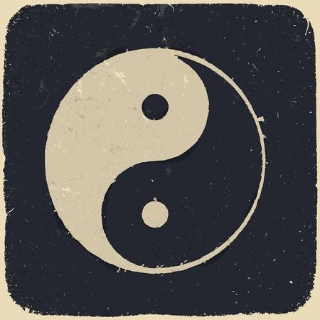 yin et yang: Grunge yin yang symbole de fond.