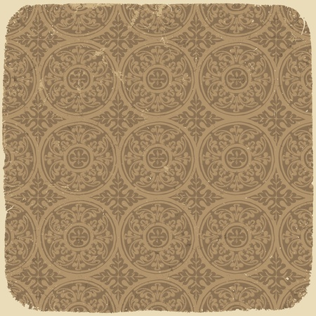 Aged vintage background with ancient seamless pattern.  Vector
