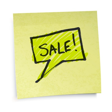 Sale text on yellow sticky paper. Vector illustration Stock Vector - 12286108