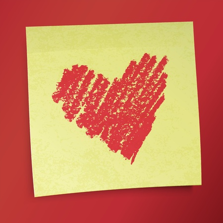 simple line drawing: Yellow sticky note with Valentine`s heart.