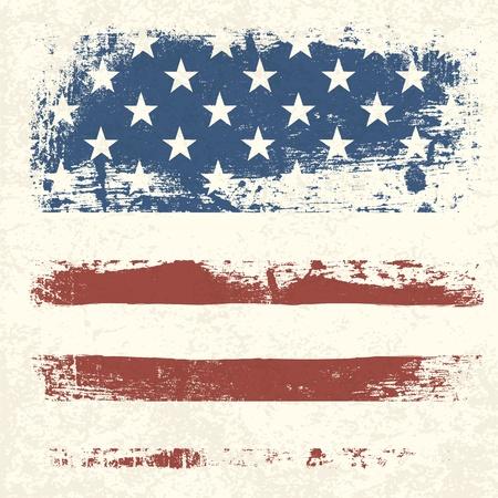 sfondo strisce: Sfondo della bandiera americana d'epoca con texture. Vettoriali