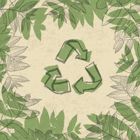 Recycle symbol, printed on reuse paper. In frame of leaves. Vector