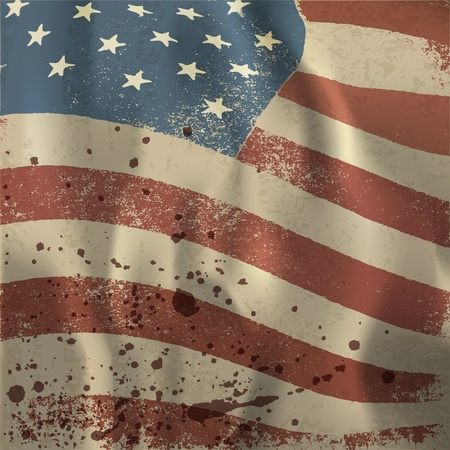 Waving vintage American flag textured background.  Vector