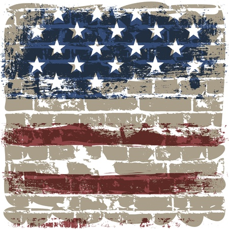 fourth of july: The American flag symbol against a brick wall.
