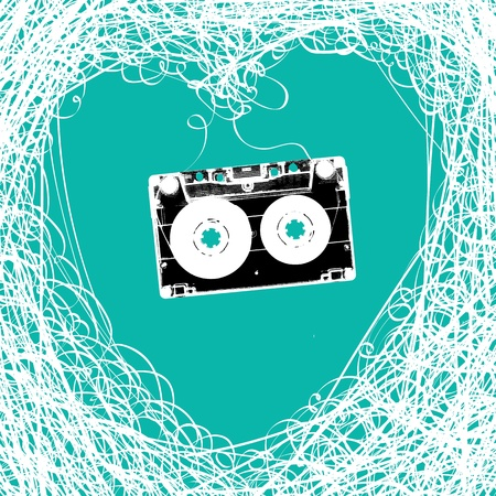 cassette: Old stereo audiocassette with tangled heart shaped magnetic tape. Illustration