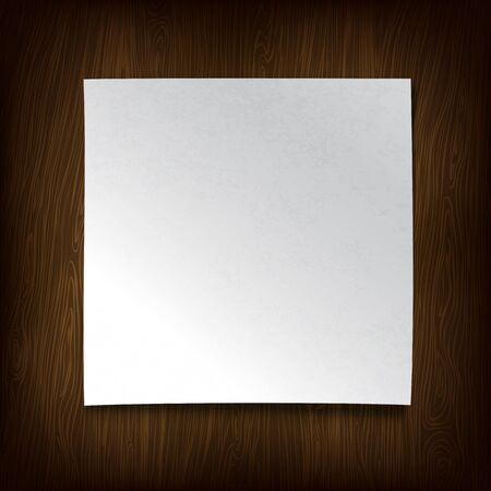 White paper on a wooden wall. Vector illustration. Stock Vector - 12286099