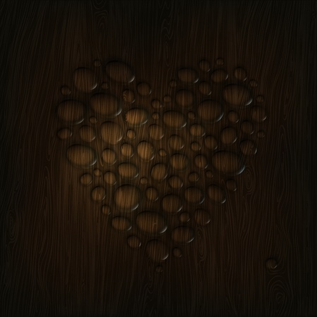 hard rain: Heart shaped water drops on a wooden texture.