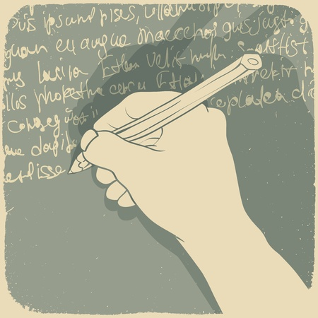 hand holding paper: Vector illustration of a hand writing