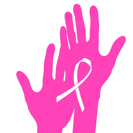 Hands holding breast cancer ribbon.