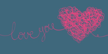 love you words and heart shaped line scribbles on letter format Vector