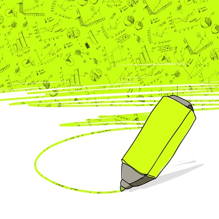 Successful business graphs highlighted in yellow with highlighter office yellow marker. Vector.  Vector