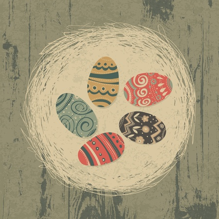 Easter eggs in nest on wooden texture. Easter background, retro styled. Vector