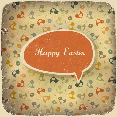 chiken: Easter vintage background. Vector illustration.