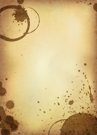 coffee spill: Classic vintage background. Old paper sheet with stains of coffee. Vector version.