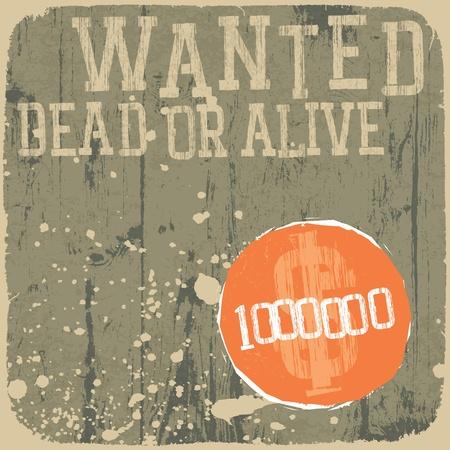 připínáček: Wanted! Mrtvý nebo živý. Retro stylu plakát.