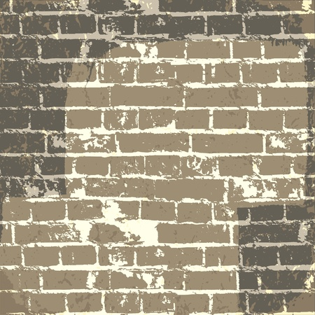 cracked wall: Grunge brick wall background for your message.  Illustration