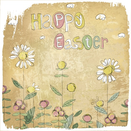 chamomile flower: Happy Easter Vintage Card.