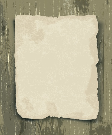 discolored: Old paper on the wood background Illustration