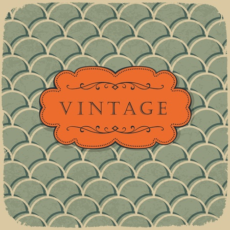 postcard template: Vintage style background with scale pattern.