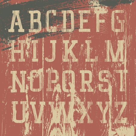 Vintage grunge alphabet occidental, ensemble de vecteurs
