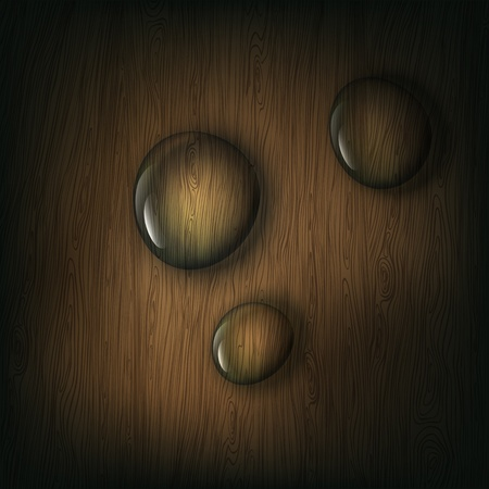 hard rain: Water drops on wooden background,